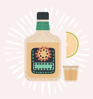 Illustration de dessin animé de bouteille de tequila
