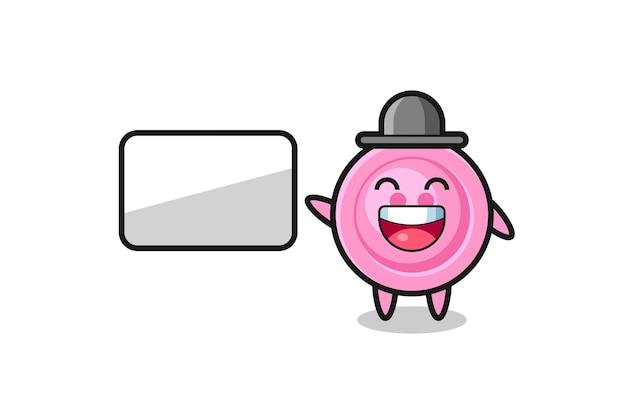 Illustration de dessin animé de bouton de vêtements faisant une présentation, conception mignonne