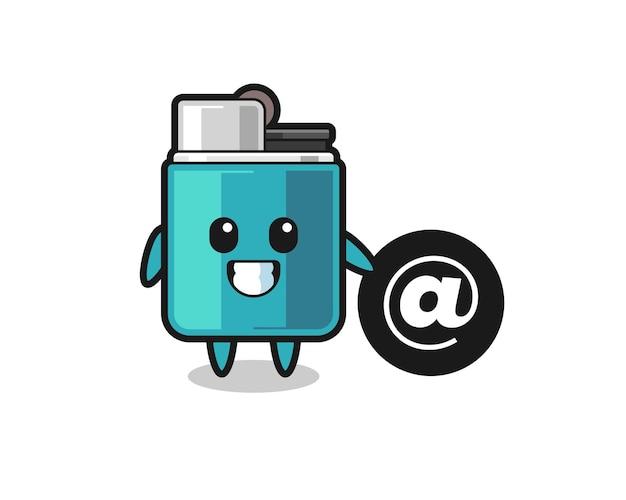 Illustration de dessin animé d'un briquet debout à côté du symbole at, design mignon