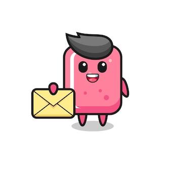 Illustration de dessin animé de bubble-gum tenant une lettre jaune, design de style mignon pour t-shirt, autocollant, élément de logo