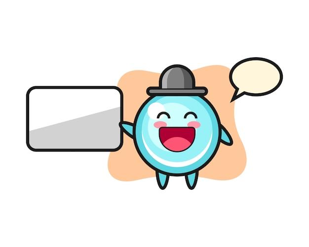 Illustration de dessin animé de bulle faisant une présentation, conception de style mignon