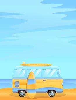 Illustration de dessin animé d'une camionnette sur la plage, illustration