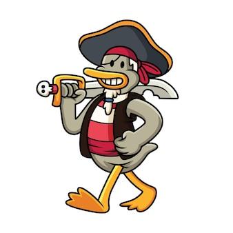 Illustration de dessin animé de canard pirate