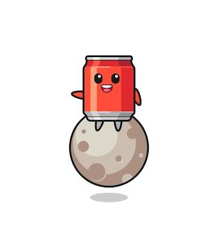 Illustration de dessin animé de canette de boisson assis sur la lune, design de style mignon pour t-shirt, autocollant, élément de logo