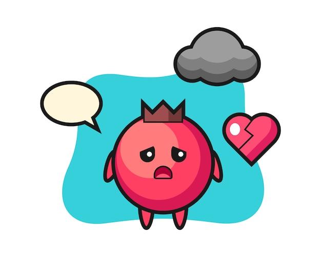 Illustration de dessin animé de canneberge est coeur brisé, style mignon, autocollant, élément de logo