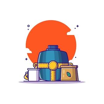 Illustration de dessin animé de cantine et de thé