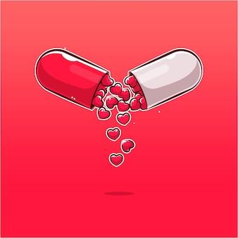 Illustration de dessin animé de capsule d'amour