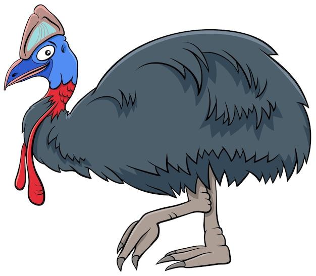 Illustration de dessin animé de caractère animal oiseau casoar
