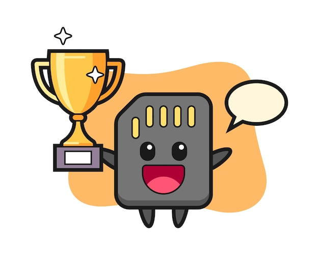 Illustration de dessin animé de la carte sd est heureuse de brandir le trophée d'or, conception de style mignon pour t-shirt