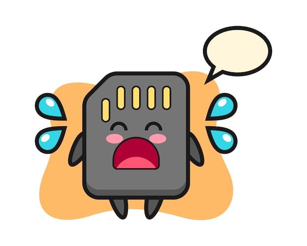 Illustration de dessin animé de carte sd avec geste qui pleure, conception de style mignon pour t-shirt