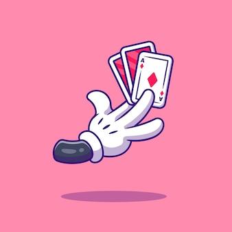 Illustration de dessin animé de carte tenant la main