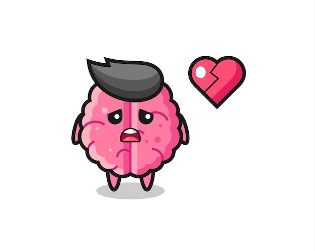 L'illustration de dessin animé de cerveau est coeur brisé, conception de style mignon pour t-shirt, autocollant, élément de logo