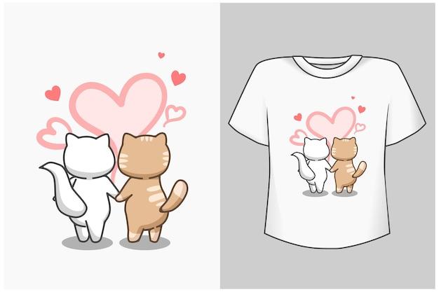 Illustration de dessin animé de chat couple maquette