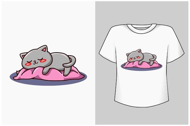 Illustration de dessin animé de chat endormi maquette