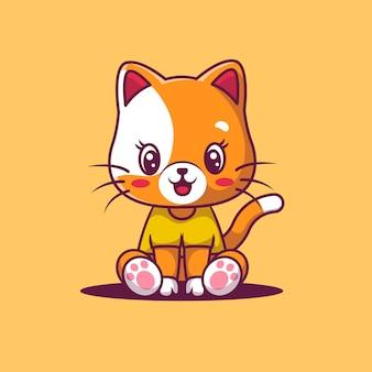 Illustration de dessin animé de chat mignon heureux.