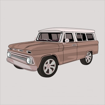 Illustration de dessin animé chevrolet classic vintage vintage car