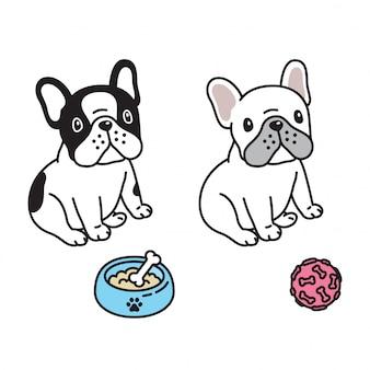Illustration de dessin animé de chien bulldog français