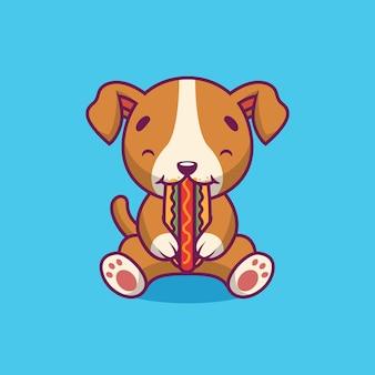 Illustration de dessin animé de chien mignon manger hot-dog