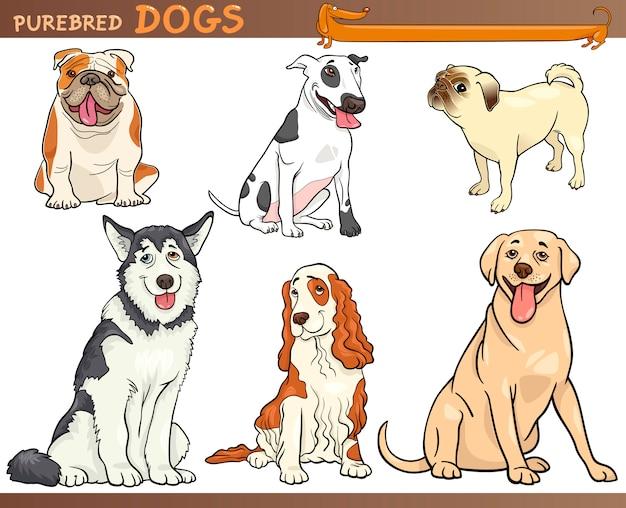Illustration de dessin animé de chiens de race pure
