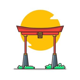 Illustration de dessin animé chinois archway. concept de nouvel an chinois isolé. style de bande dessinée plat