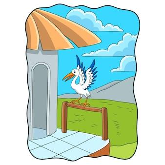 Illustration de dessin animé la cigogne perchée sur le bord en bois de la maison