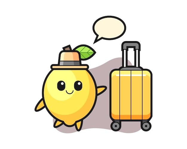 Illustration de dessin animé de citron avec des bagages en vacances