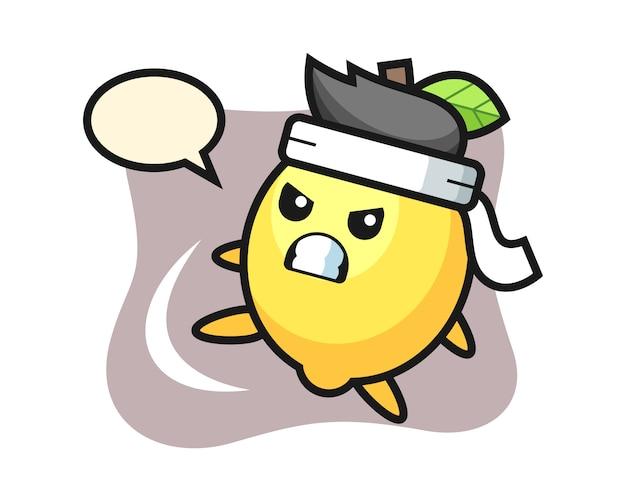 Illustration de dessin animé de citron faisant un coup de pied de karaté