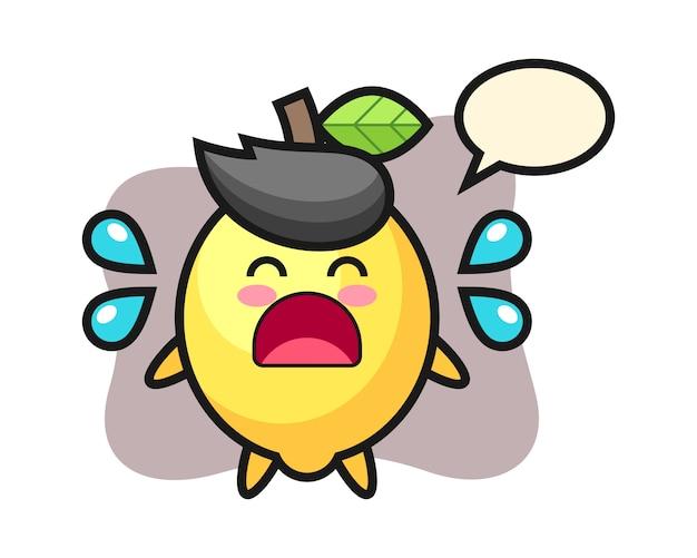 Illustration de dessin animé de citron avec un geste qui pleure