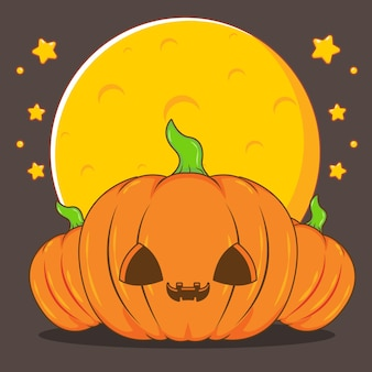 Illustration de dessin animé de citrouilles d'halloween