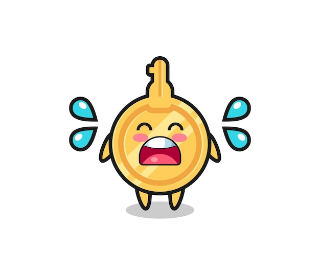 Illustration de dessin animé clé avec un geste qui pleure, design mignon