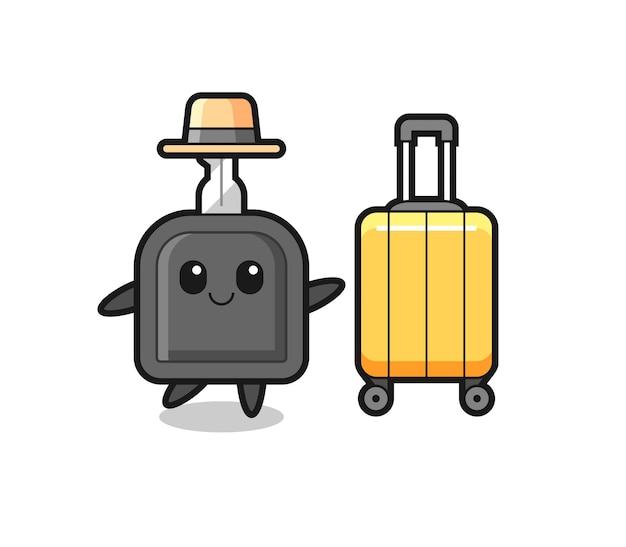 Illustration de dessin animé de clé de voiture avec bagages en vacances, design de style mignon pour t-shirt, autocollant, élément de logo