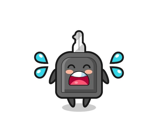 Illustration de dessin animé de clé de voiture avec geste qui pleure, design de style mignon pour t-shirt, autocollant, élément de logo