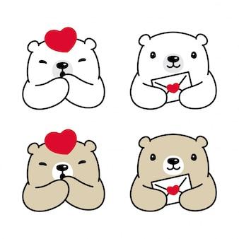 Illustration de dessin animé coeur ours caractère polaire
