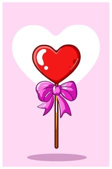 Illustration de dessin animé de coeur valentine candy kawaii