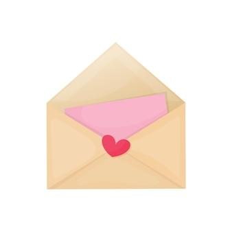Illustration de dessin animé coloré de la lettre de la saint-valentin sur fond blanc.