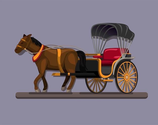 Illustration de dessin animé de concept de symbole de transport vintage chariot cheval