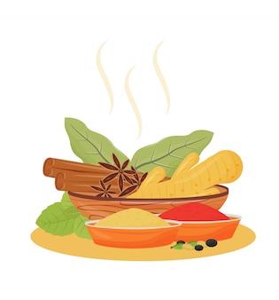 Illustration de dessin animé de condiments de boisson indienne.