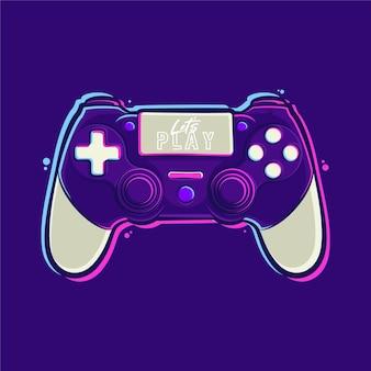 Illustration de dessin animé de contrôleur playstation stick vecteur premium