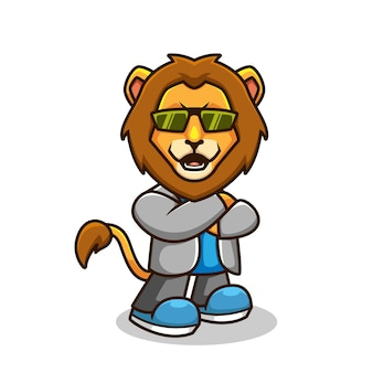 Illustration de dessin animé cool lion décontracté