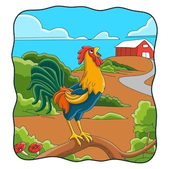 Illustration de dessin animé le coq chante sur le tronc d'arbre