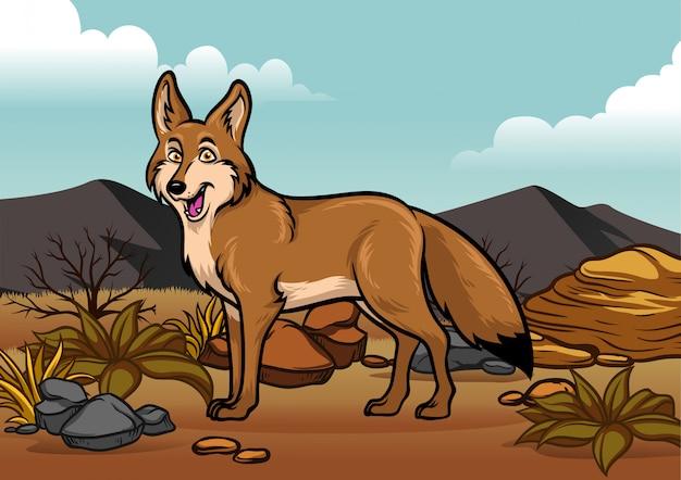 Illustration de dessin animé de coyotes dans le dessert