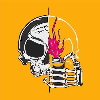 Illustration de dessin animé de crâne en feu