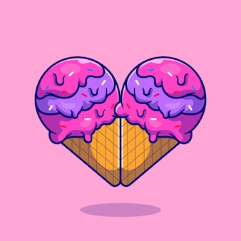 Illustration de dessin animé de crème glacée coeur amour