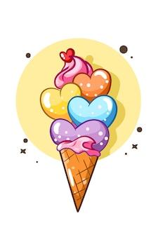 Une illustration de dessin animé de crème glacée douce amour coloré