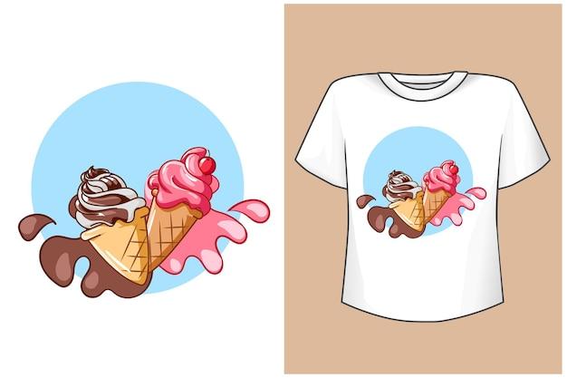 Illustration de dessin animé de crèmes glacées de maquette de conception de t-shirt