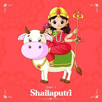 Illustration de dessin animé de la déesse shailaputri maa pour la bannière navratri jour un du festival navratri