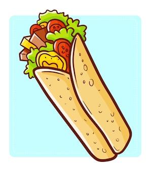 Illustration De Dessin Animé Délicieux Long Kebab Vecteur Premium