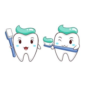 Illustration de dessin animé de dent tenant la brosse à dents.
