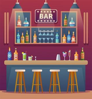 Illustration de dessin animé de design d'intérieur de comptoir de bar