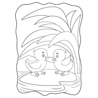 Illustration de dessin animé deux canards sont sur un rocher au milieu du livre ou de la page de la rivière pour les enfants en noir et blanc